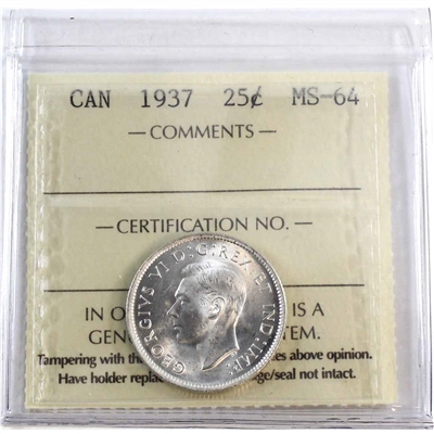 1937 Canada 25-cents ICCS Certified MS-64 (XCE 602)
