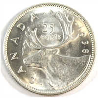 1938 Canada 25-cents Uncirculated (MS-60) $