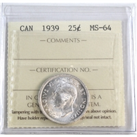 1939 Canada 25-Cents ICCS Certified MS-64 (XQL 371)