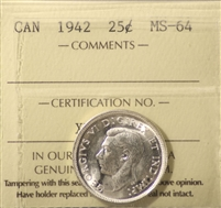 1942 Canada 25-cents ICCS Certified MS-64 (XVP 209)