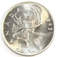 1943 Canada 25-cents Brilliant Uncirculated (MS-63) $