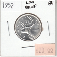 1952 Low Relief Canada 25-cents Brilliant Uncirculated (MS-63)