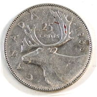 1953 Large Date NSS Canada 25-cents Very Fine (VF-20)