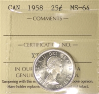 1958 Canada 25-cents ICCS Certified MS-64