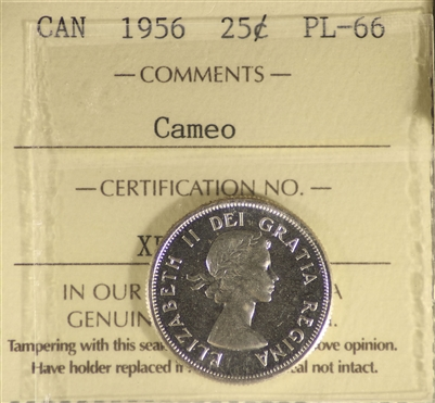1956 Canada 25-cents ICCS Certified PL-66 Cameo