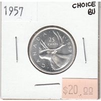 1957 Canada 25-cents Choice Brilliant Uncirculated