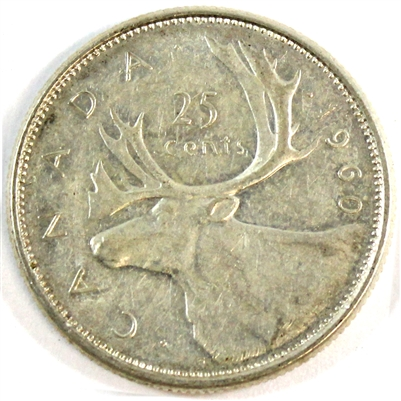 1960 Canada 25-cents Circulated