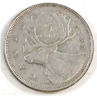1965 Canada 25-cents Circulated