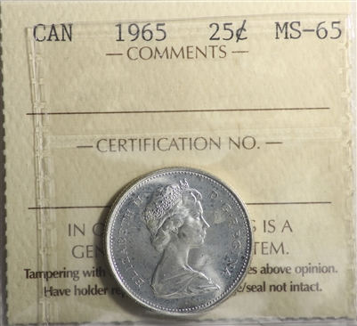 1965 Canada 25-cents ICCS Certified MS-65