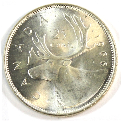 1966 Canada 25-cents Choice Brilliant Uncirculated (MS-64)