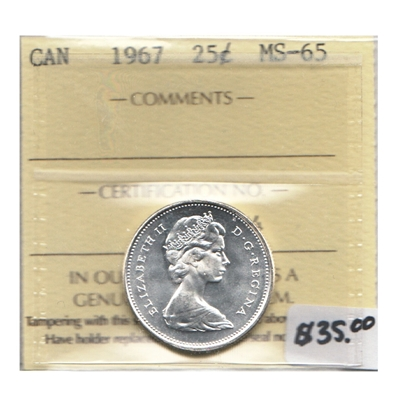 1967 Canada 25-cents ICCS Certified MS-65