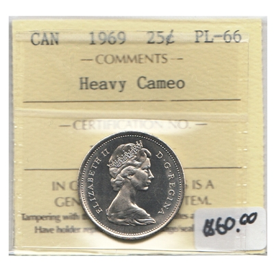 1969 Canada 25-cents ICCS Certified PL-66 Heavy Cameo