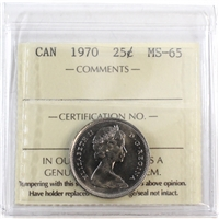 1970 Canada 25-cents ICCS Certified MS-65