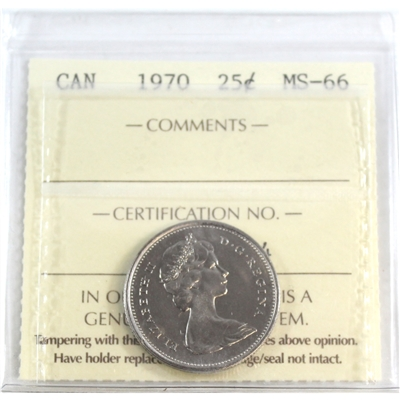 1970 Canada 25-cents ICCS Certified MS-66