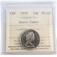 1970 Canada 25-cents ICCS Certified PL-65 Heavy Cameo