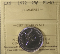 1972 Canada 25-cents ICCS Certified PL-67