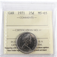 1971 Canada 25-cents ICCS Certified MS-65
