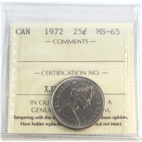 1972 Canada 25-cents ICCS Certified MS-65