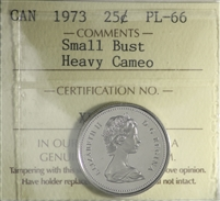 1973 Small Bust Canada 25-cents ICCS Certified PL-66 Heavy Cameo