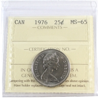 1976 Canada 25-cents ICCS Certified MS-65