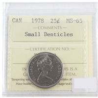 1978 Canada 25-cents ICCS Certified MS-65 Small Denticles