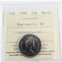 1988 Canada 25-cents ICCS Certified MS-67 Numismatic BU