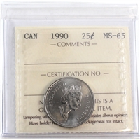 1990 Canada 25-cents ICCS Certified MS-65