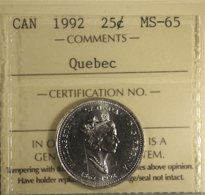 1992 Canada 25-Cents ICCS Certified MS-65 Quebec