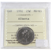 1992 Canada Alberta 25-cents ICCS Certified MS-65