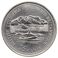 1992 Canada British Columbia 25-cents Brilliant Uncirculated (MS-63)