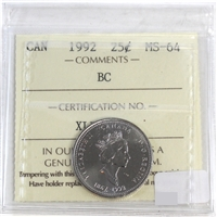 1992 Canada British Columbia 25-cents ICCS Certified MS-64