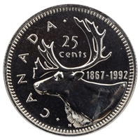1992 Canada Caribou 25-cents Proof Like (Mint Set Issue Only)