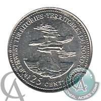 1992 Canada Northwest Territories 25-cents Brilliant UNC. (MS-63)
