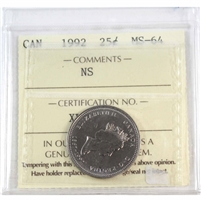 1992 Canada Nova Scotia 25-cents ICCS Certified MS-64