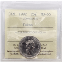 1992 Canada Yukon 25-cents ICCS Certified MS-65