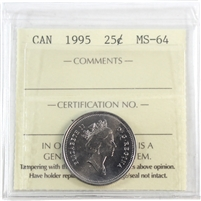 1995 Canada 25-Cents ICCS Certified MS-64