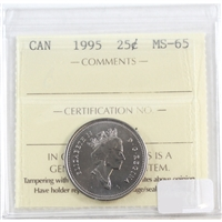 1995 Canada Caribou 25-cents ICCS Certified MS-65