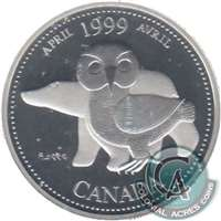 1999 Canada April 25-cents Silver Proof