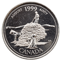 1999 Canada August 25-cents Brilliant Uncirculated (MS-63)