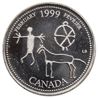 1999 Canada Febuary 25-cents Brilliant Uncirculated (MS-63)