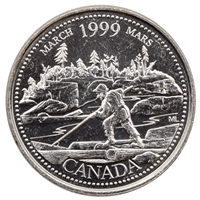 1999 Canada March 25-cents Brilliant Uncirculated (MS-63)