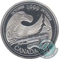 1999 Canada October 25-cents Silver Proof