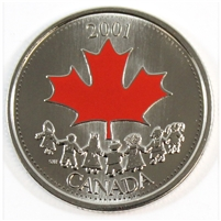 2001P Coloured Canada Day 25-cents Proof Like_