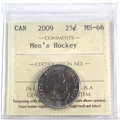 2009 Canada Men's Hockey 25-cents ICCS Certified MS-66