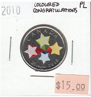 2010 Canada Coloured Congratulations 25-cents Proof Like