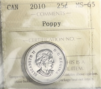 2010 Canada Poppy 25-cents ICCS Certified MS-65