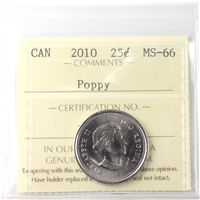 2010 Canada Poppy 25-cents ICCS Certified MS-66