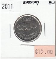 2011 Canada Birthday 25-cents Brilliant Uncirculated (MS-63)