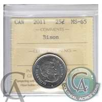 2011 Canada Bison 25-cents ICCS Certified MS-65