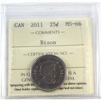 2011 Canada Bison 25-cents ICCS Certified MS-66
